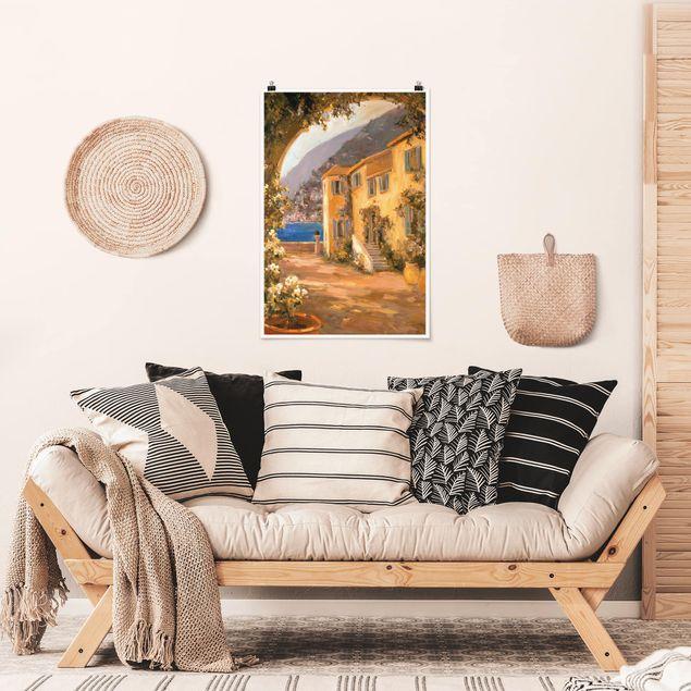 Poster - Italienische Landschaft - Blumenbogen - Hochformat 3:2