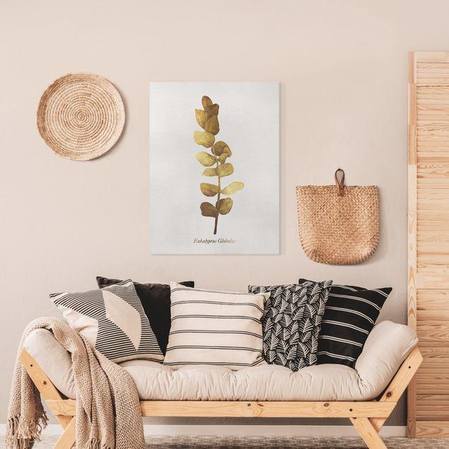 Leinwandbild - Gold - Eukalyptus - Hochformat 4:3