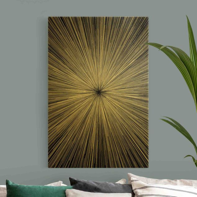 Leinwandbild Gold - Abstrakte Strahlen Schwarz Weiß - Hochformat 2:3