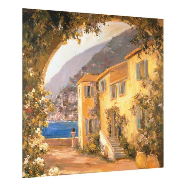 Glas Spritzschutz - Italienische Landschaft - Blumenbogen - Quadrat - 1:1