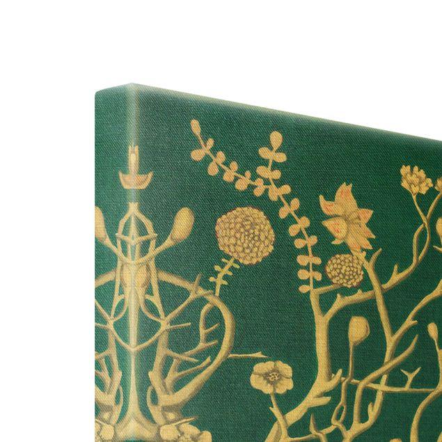 Leinwandbild Gold - Chinoiserie Blumen in der Nacht II - Hochformat 2:3