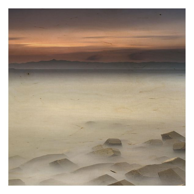 Holzbild - Sonnenuntergang im Nebel - Quadrat 1:1
