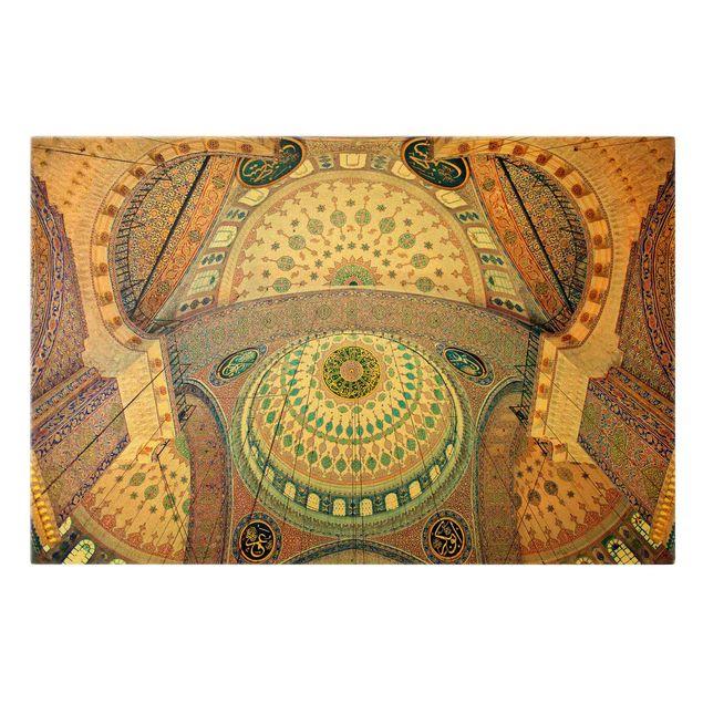 Leinwandbild Gold - Blaue Moschee in Istanbul - Querformat 3:2