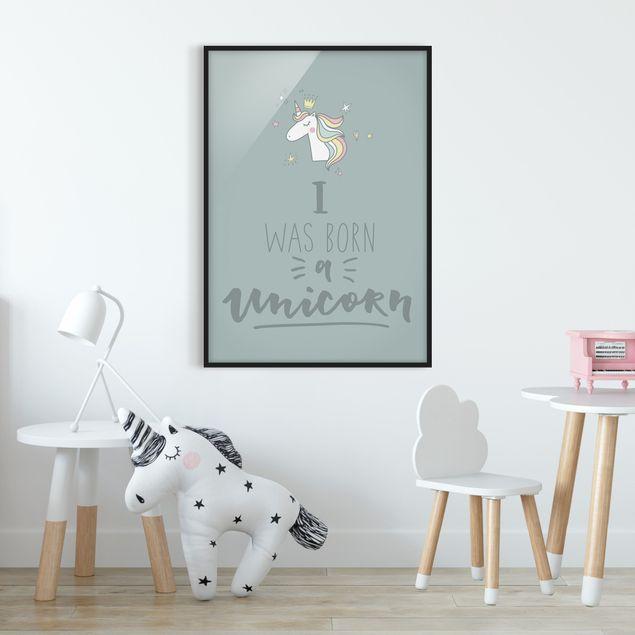 Bild mit Rahmen - I was born a Unicorn - Hochformat 3:4