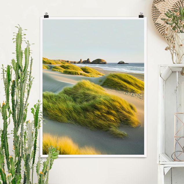 Poster - Dünen und Gräser am Meer - Hochformat 3:4