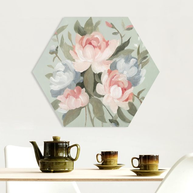 Hexagon Bild Forex - Bouquet in Pastell I