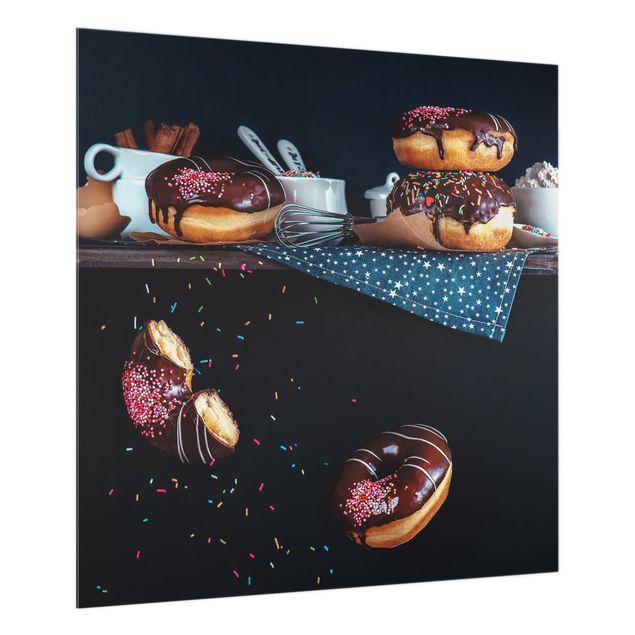 Glas Spritzschutz - Donuts vom Küchenregal - Quadrat - 1:1