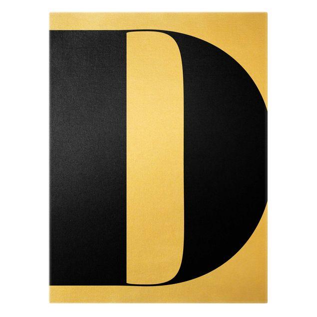 Leinwandbild Gold - Antiqua Letter D - Hochformat 3:4