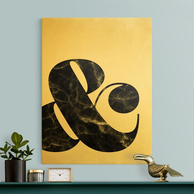 Leinwandbild Gold - Ampersand Marmor - Hochformat 3:4
