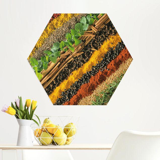 Hexagon Bild Alu-Dibond - Gewürzstreifen