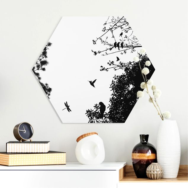 Hexagon Bild Forex - Vintage Tree with Birds