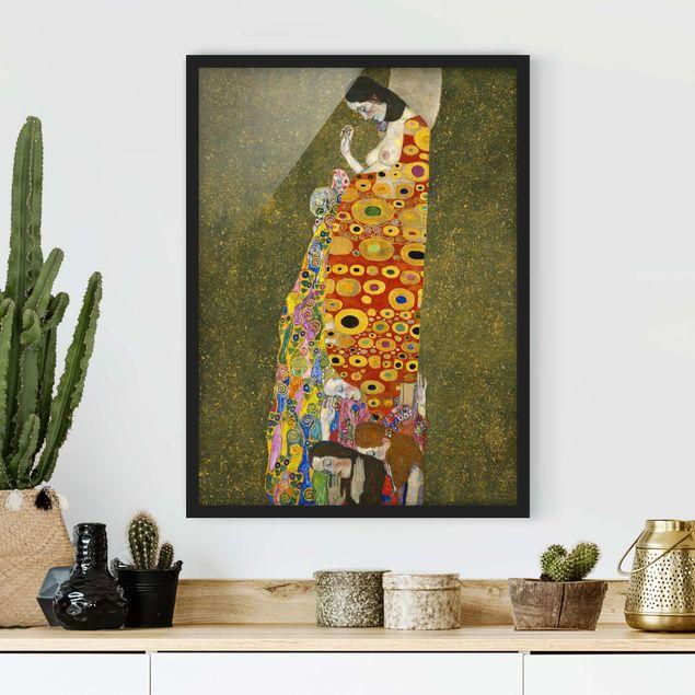 Bild mit Rahmen - Gustav Klimt - Die Hoffnung II - Hochformat 3:4