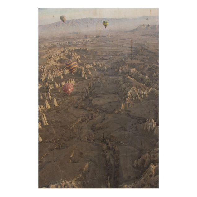 Holzbild - Heißluftballons über Anatolien - Hochformat 3:2