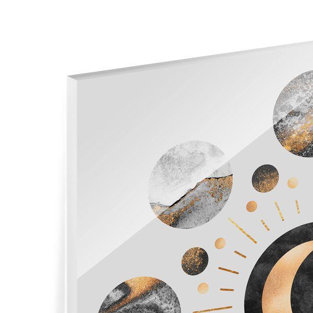 Glas Spritzschutz - Mondphasen Abstrakt Gold - Quadrat - 1:1
