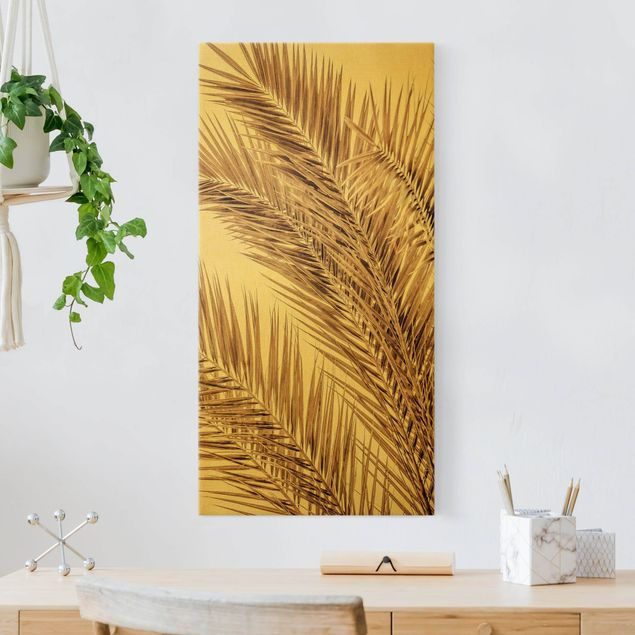 Leinwandbild Gold - Bronzefarbene Palmenwedel - Hochformat 1:2
