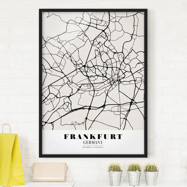 Bild mit Rahmen - Stadtplan Frankfurt - Klassik - Hochformat 3:4
