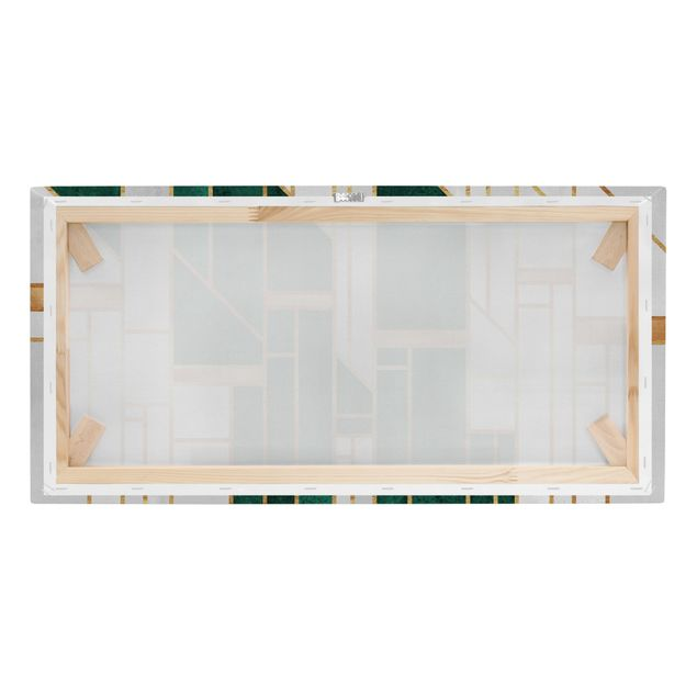 Leinwandbild - Elisabeth Fredriksson - Emerald und Gold Geometrie - Querformat 2:1