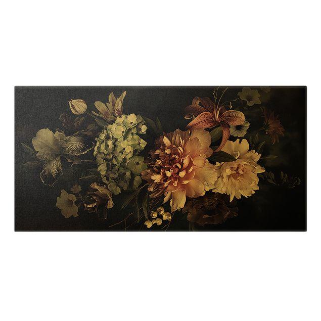 Leinwandbild Gold - Blumen mit Nebel auf Schwarz - Querformat 2:1