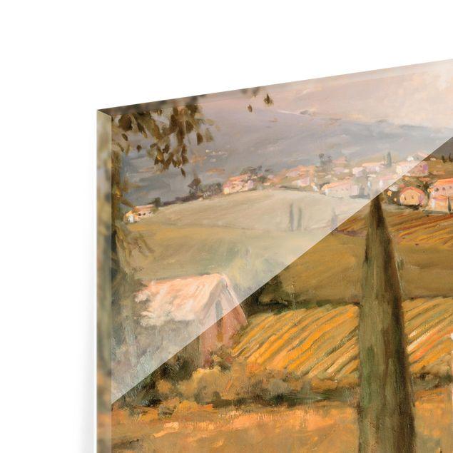 Glas Spritzschutz - Italienische Landschaft - Haustreppe - Quadrat - 1:1