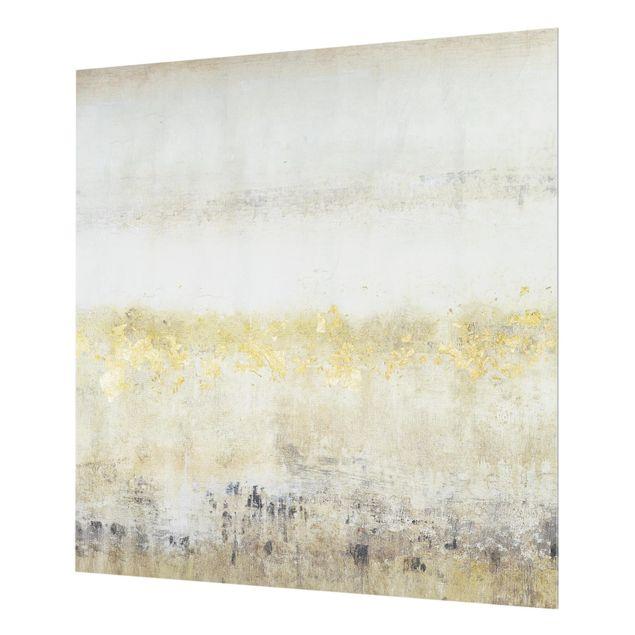 Glas Spritzschutz - Goldene Farbfelder I - Quadrat - 1:1