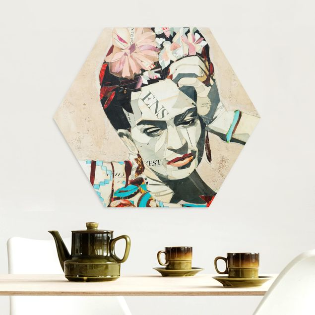 Hexagon Bild Alu-Dibond - Frida Kahlo - Collage No.1