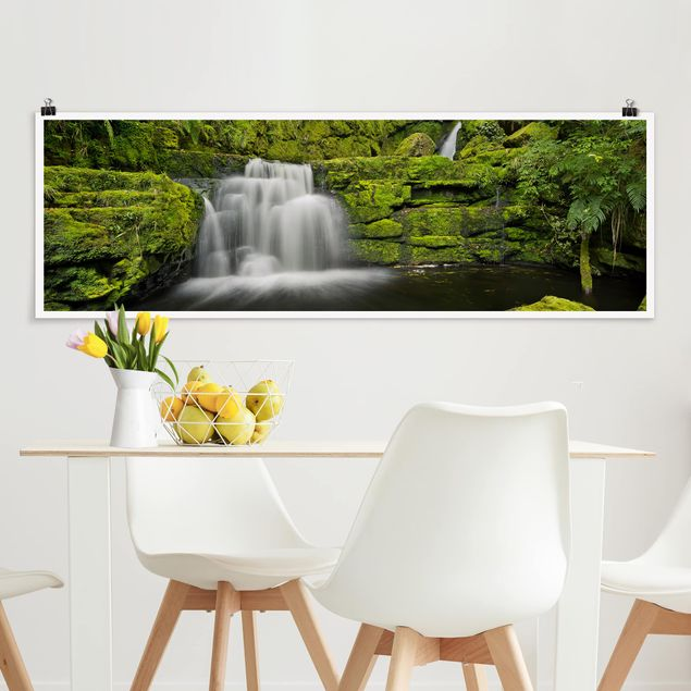 Poster - Lower McLean Falls in Neuseeland - Panorama Querformat