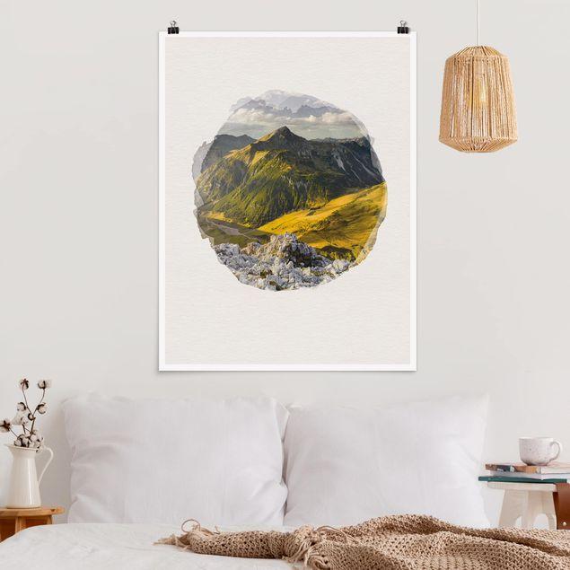 Poster - Wasserfarben - Berge und Tal der Lechtaler Alpen in Tirol - Hochformat 4:3