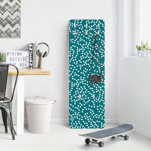 Garderobe - Aborigine Punktmuster Blaugrün