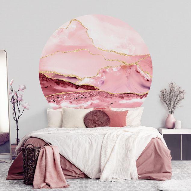 Runde Tapete selbstklebend - Abstrakte Berge Rosa mit Goldenen Linien