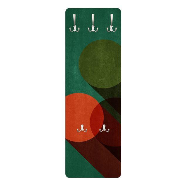 Garderobe - Abstrakte Formen - Kreise in Grün und Rot