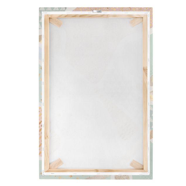 Leinwandbild - Abstrakte Seelandschaft Pastellmuster - Hochformat 2:3