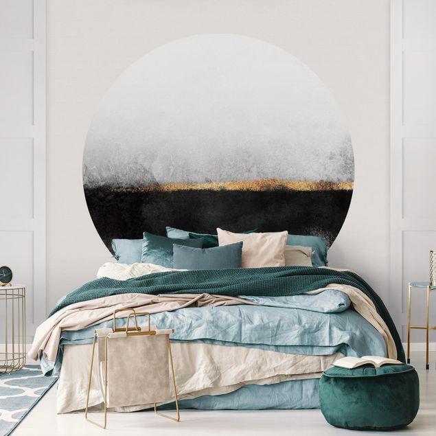 Runde Tapete selbstklebend - Abstrakter Goldener Horizont Schwarz Weiß