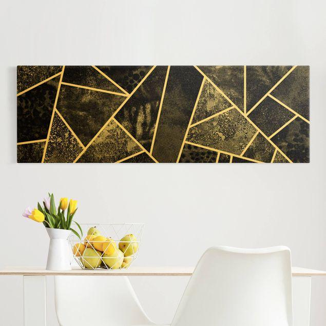 Leinwandbild Gold - Goldene Geometrie - Graue Dreiecke - Panorama 3:1