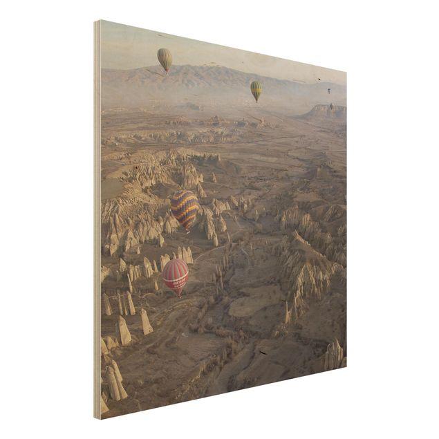 Holzbild - Heißluftballons über Anatolien - Quadrat 1:1