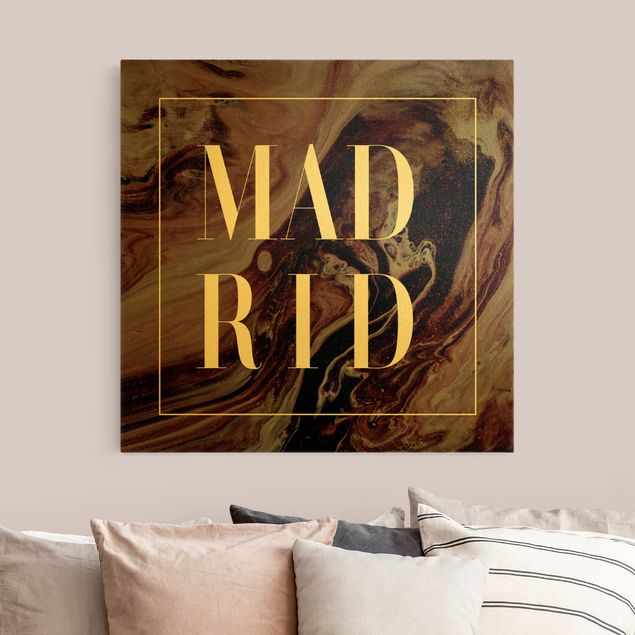 Leinwandbild Gold - Abstrakte Malerei - Madrid - Quadrat 1:1