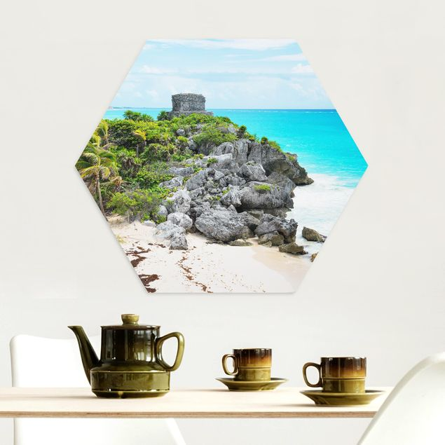 Hexagon Bild Alu-Dibond - Karibikküste Tulum Ruinen