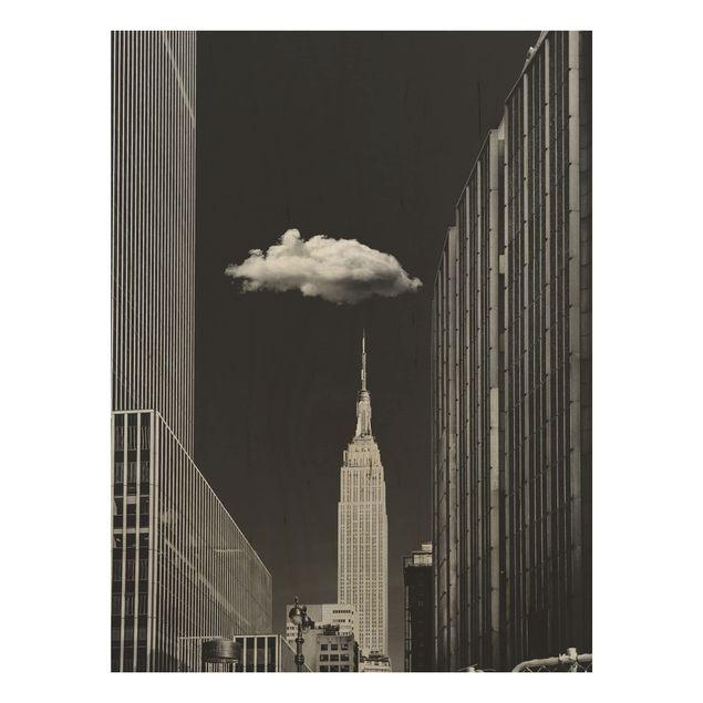 Holzbild - New York mit einzelner Wolke - Hochformat 4:3