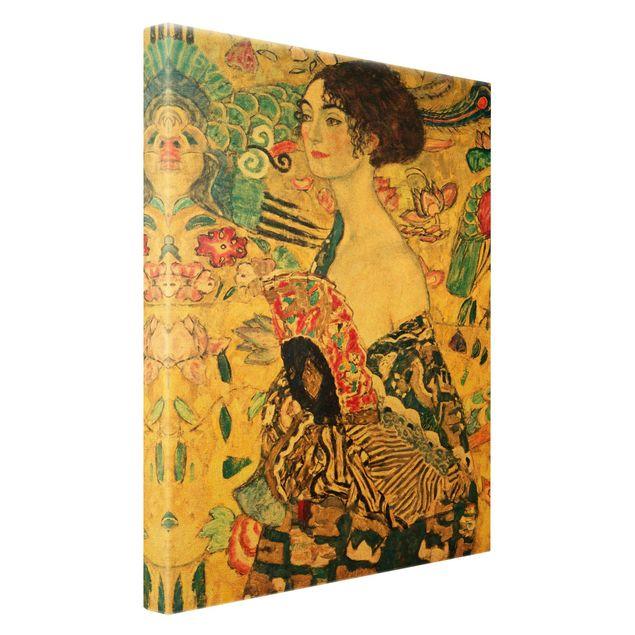 Leinwandbild Gold - Gustav Klimt - Dame mit Fächer - Hochformat 2:3