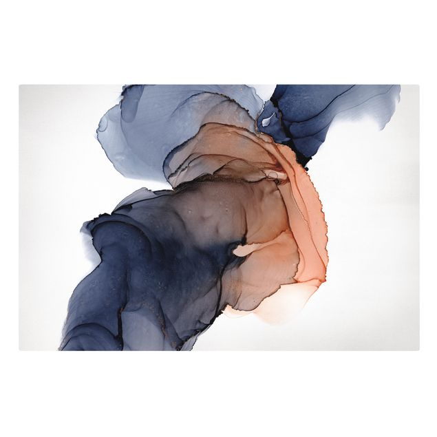 Leinwandbild - Ozeantropfen Blau-Orange mit Gold - Querformat 3:2
