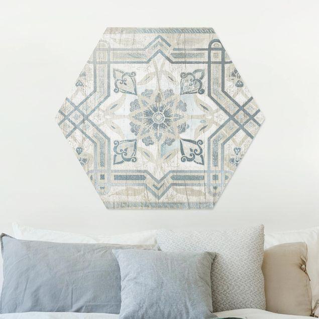 Hexagon Bild Alu-Dibond - Holzpaneel Persisch Vintage III