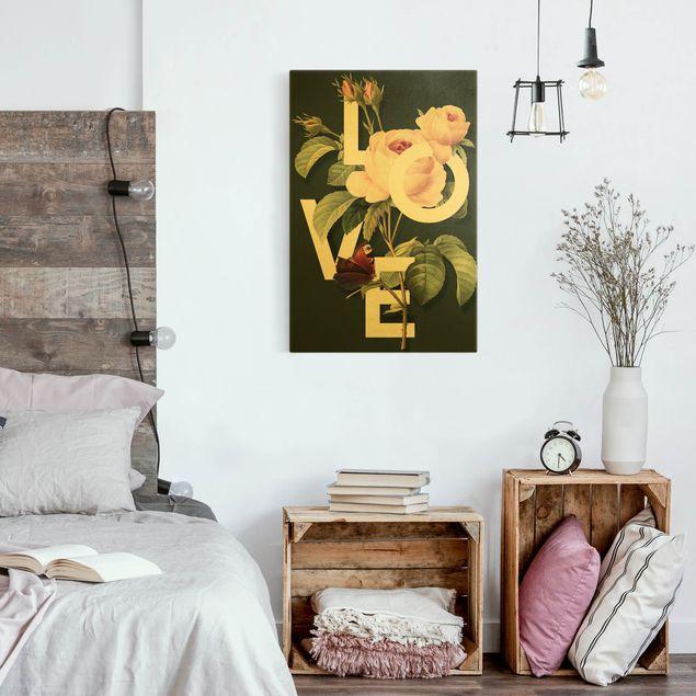 Leinwandbild Gold - Florale Typografie - Love - Hochformat 2:3