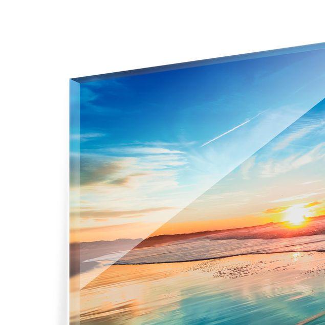 Glas Spritzschutz - Romantischer Sonnenuntergang am Meer - Querformat - 4:3
