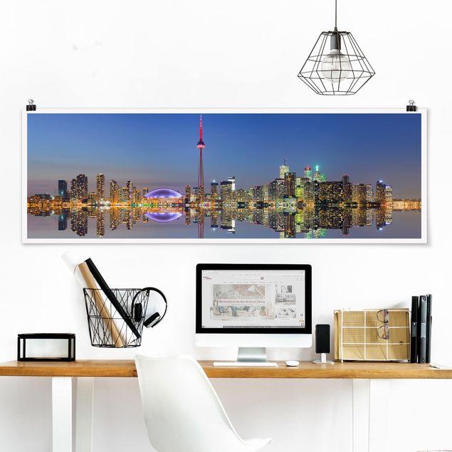 Poster - Toronto City Skyline vor Lake Ontario - Panorama Querformat