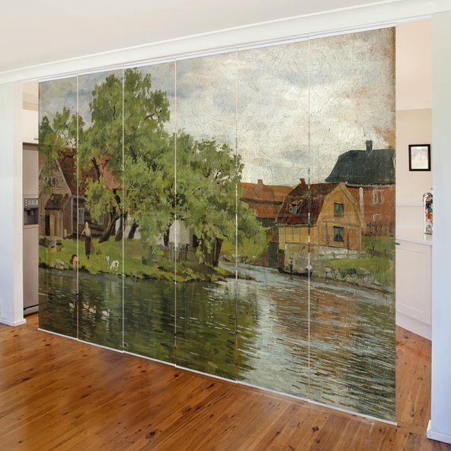 Schiebegardinen Set - Edvard Munch - Szene am Fluss Akerselven - Flächenvorhänge