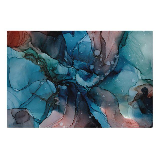 Leinwandbild - Unterwasser in Petrol und Rot mit Gold - Querformat 3:2