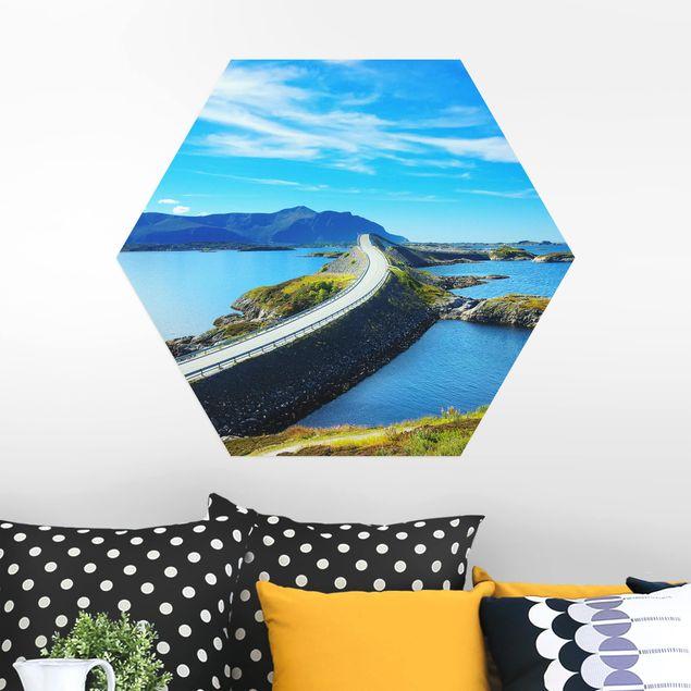Hexagon Bild Alu-Dibond - Crossing Norway