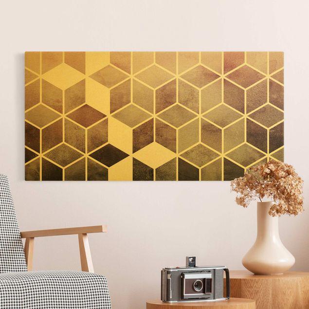 Leinwandbild Gold - Goldene Geometrie - Rosa Grau - Querformat 2:1