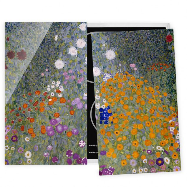 Herdabdeckplatte Glas - Gustav Klimt - Bauerngarten - 52x80cm