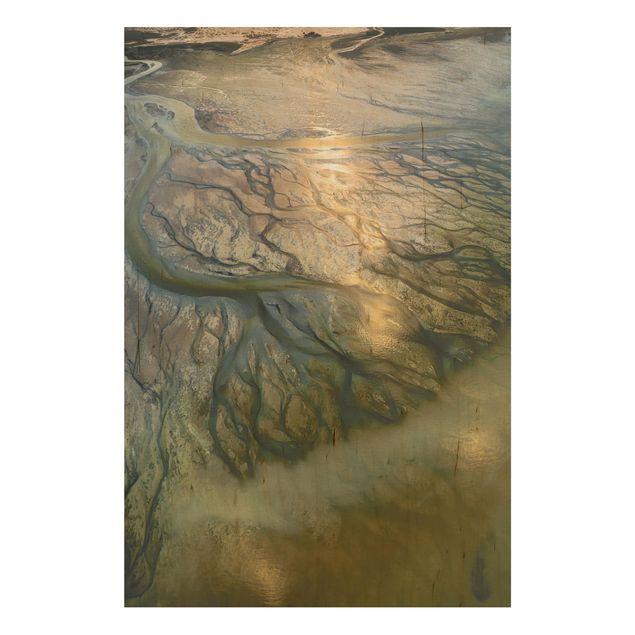 Holzbild - Küste in Kuwait - Hochformat 3:2