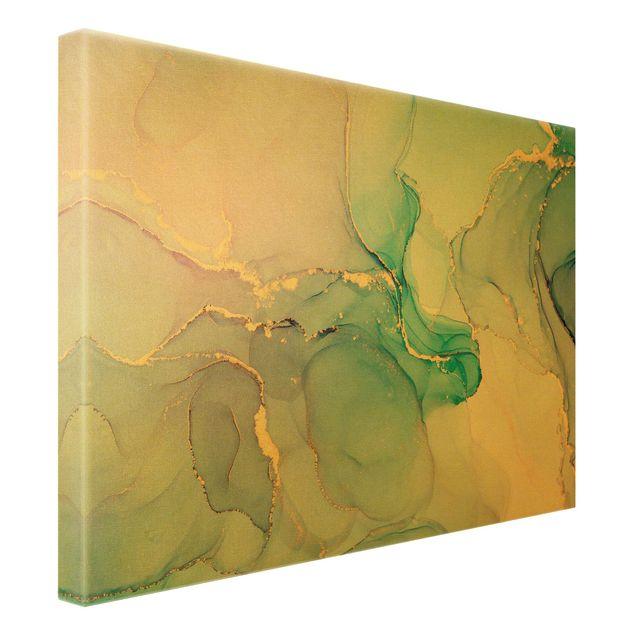 Leinwandbild Gold - Aquarell Pastell Türkis mit Gold - Querformat 4:3
